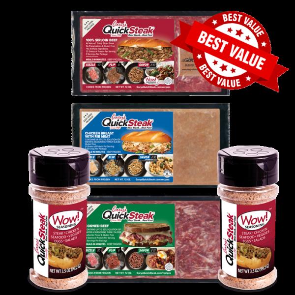 Gary's QuickSteak Sirloin Beef, Chicken, Corned Beef, and Wow Sesoning